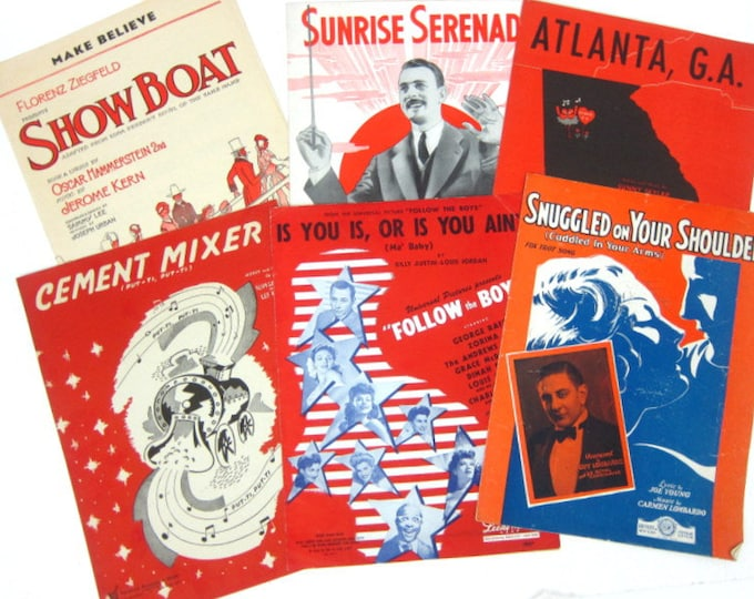6 Sheet Music Collection for Framing Picture Songs Wall Art Vintage RED Art Deco Big Band Home Decor Hanging Paper Ephemera Art