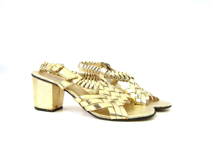 Retro Gold Open Toe Sandals Chunky Heel Pin Up Girl Disco Shoes Braided Vegan Summer Sandals Women's Size 6