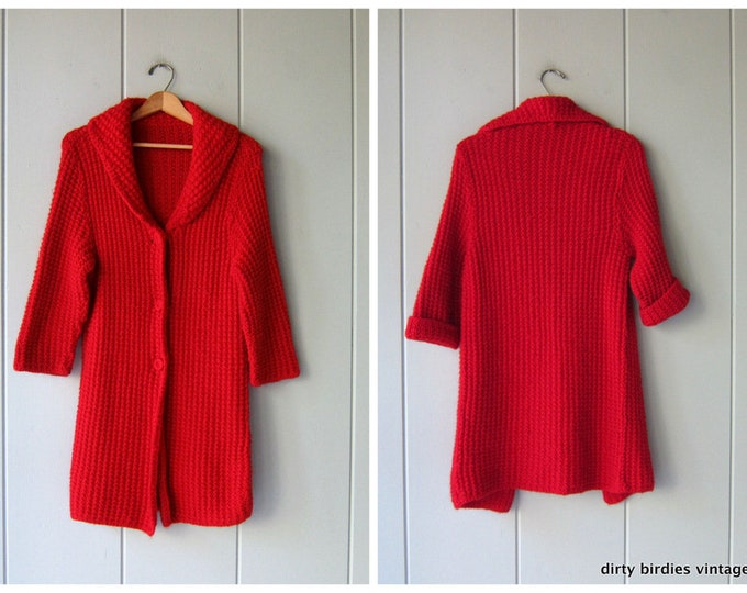 Handwoven Long Cardigan Sweater Chunky Red Sweater Coat Button Up 60s Cardigan