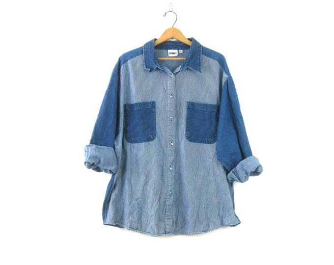 90s Preppy Jean Shirt Baggy Blue Pinstripe Denim Button Up Oxford Basic Shirt Normcore Pocket Color Shirt Vintage Women's Plus Size 24 W