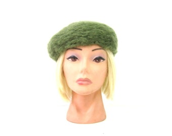 adc8bade34a Vintage 1950s Green Wool Hat Womens Dress Hat Mid Century Mad Men Fashion  Hat Size Small