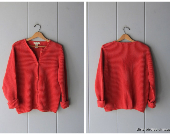 Chunky Knit Tomato Red Sweater Button Up Cardigan Oversized Thick Knit 90s Sweater Vintage Preppy Basic Sweater Womens XL