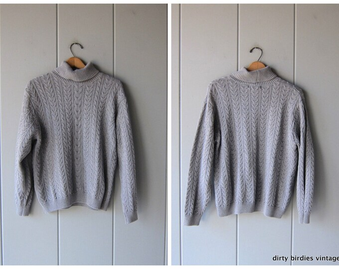 90s Grey Turtleneck Sweater Thick Knit Gray Cable Knit Sweater Minimal Boho Preppy Pullover Womens Large