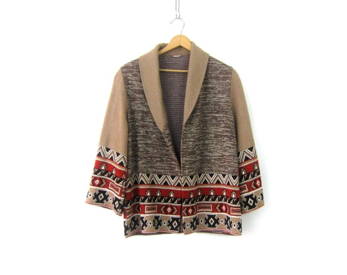 Ethnic Boho Sweater Open Fit Cardigan Tribal Sweater 70s Bohemian Festival Sweater M/L