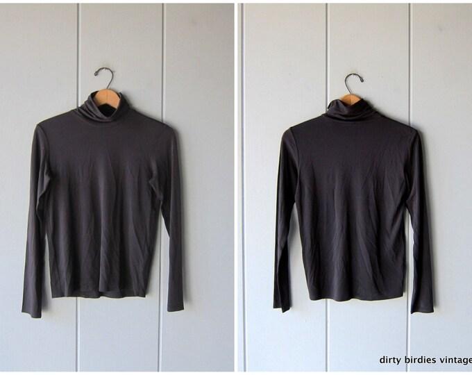 Black Silk Turtleneck Eileen Fisher Modern 90s Minimal Stretchy Long Sleeve Silk Top Petite XS