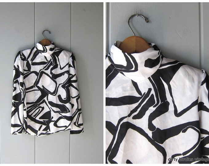 Black White Abstract Blouse