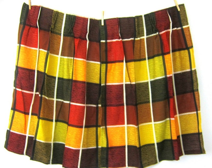 Retro Curtains Gold Red Plaid Fabric Drapes Vintage mid century Fabric 4 Short Curtain Panels MODERN Ranch Home Decor