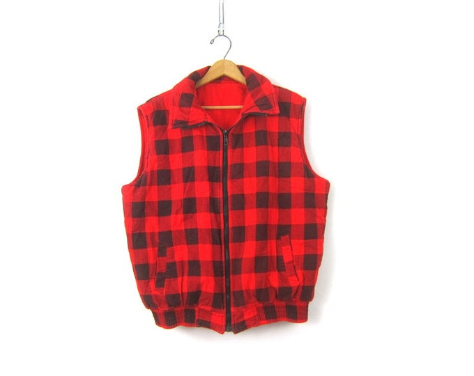 Red and Black Buffalo Check Plaid Vest Reversible Cotton Puffer Jacket Sleeveless Lumberjack Grunge Vest Hipster UNISEX Vintage size XL