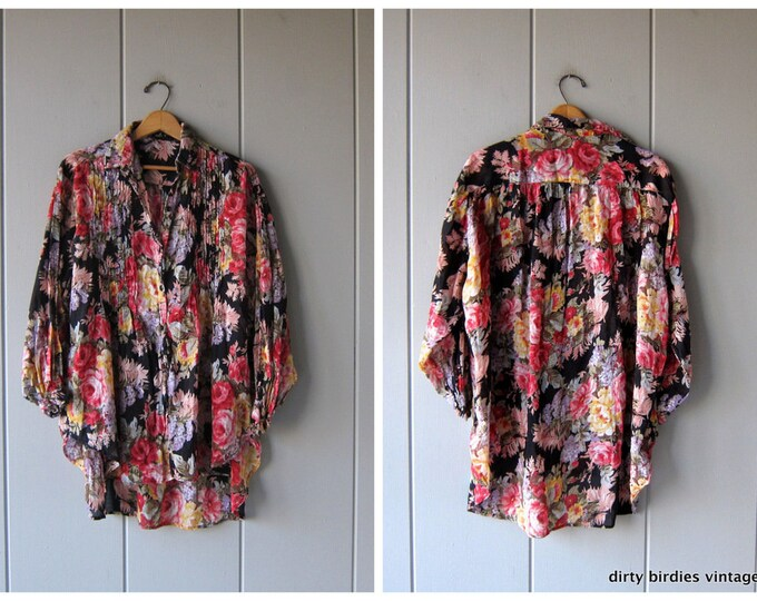 Oversized Floral Blouse Cotton Gauze Tunic Top Tent Shirt Button Up India Blouse Boho Hippie Gypsy Shirt Womens OSFM
