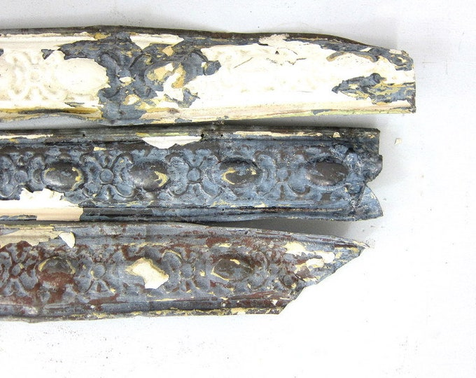 Embossed Tin Ceiling Trim Antique Architectural Salvage Chippy White Paint Metal Home Decor 3 Pieces