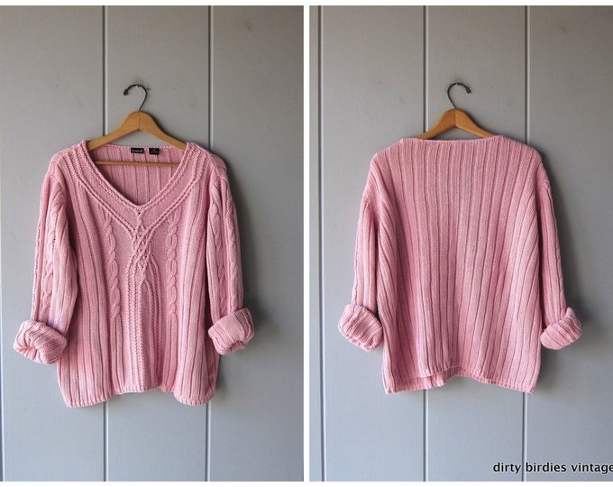 Chunky Pink Sweater Slouchy Knit Pullover Oversized Boho Sweater Minimal Preppy Cable Knit Vneck Sweater Womens XL