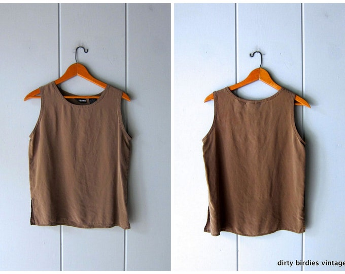 Cocoa Brown Silk Tank - Small