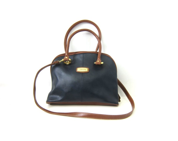 Vintage Navy Blue Purse Modern Cross Body 90s Top Handle Capezio Purse Simple Preppy Purse Crossbody Faux leather Purse