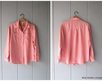d8d9402aee953 90s Silk Blouse Pink Silk Shirt Button Up Pocket Shirt Minimal Long Sleeve  Top Modern Silk Blouse Vintage Womens Large
