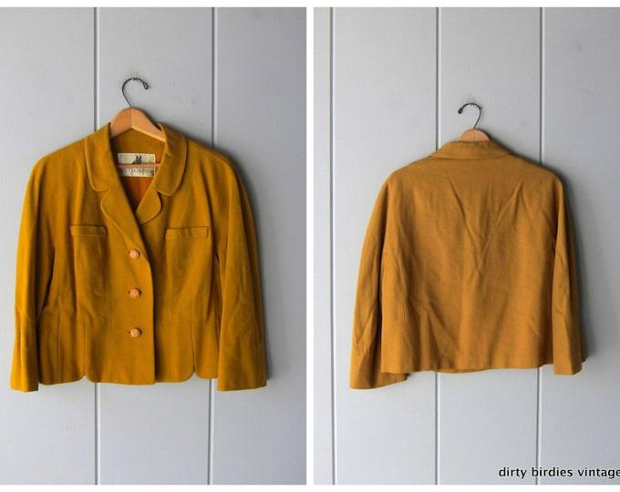Mustard Wool Blazer Coat 1950s Vintage Wool Jacket Cropped Button Up Coat Modern Preppy Yellow Mid Century Rothmoor Coat Womens Medium Large