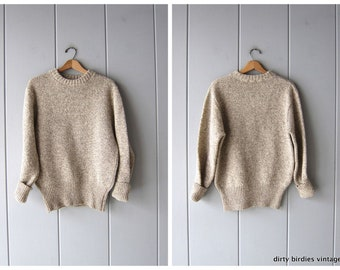 3a15210763 Speckled Raw Rag Wool Sweater 80s Pullover Oatmeal Knit Crewneck Sweater  Preppy Marled Boho Prep Vintage Sweater Large