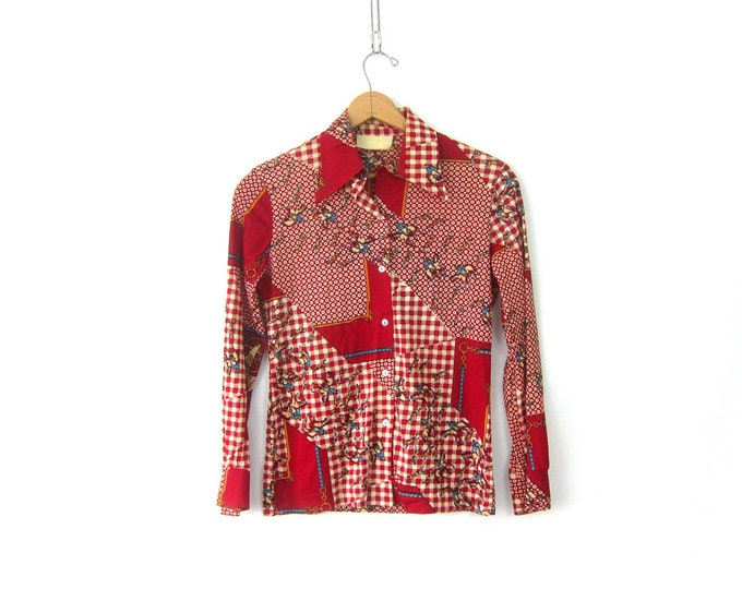 1970s FOX HUNTING Blouse Red Button Up Retro Print Pattern Top Long Sleeve Collar disco Shirt Womens Size Small Medium Large