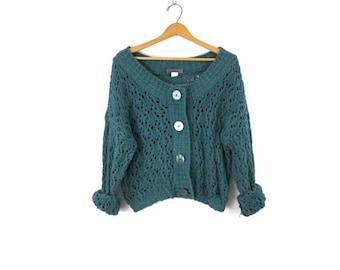 Vintage CHEVRON Mohair Blend Cardigan Sweater Button Down Zig Zag Fall Colors Autumn 90s Retro Fashion Womens Large