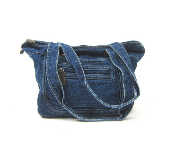 Denim Bag 90s Blue Jean Purse Sporty Bag Vintage 1990's Shoulder Bag Preppy Hipster Bag Everyday Purse