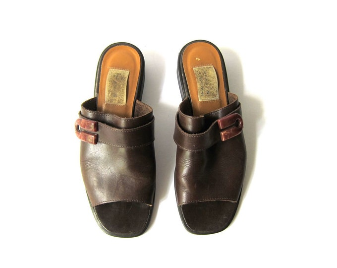 90s Brown Leather Mules - 8.5