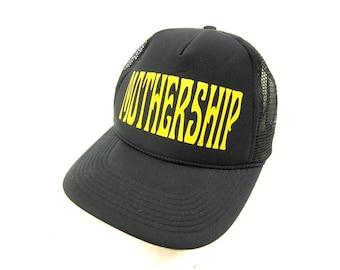 5995e7dd2ab Vintage MOTHERSHIP Trucker Hat Black and Yellow Semi Truck Cap Snapback Hat  Retro 80s Net Hat Farmer Cap snap back Hat Size One Size OSFM