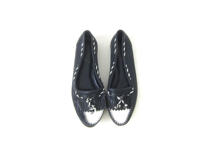 Vintage 80s Navy Blue Leather Moccasins Tassles Preppy Fringed Slip on Flats Boat Deck Shoes Loafers Womens Size 7