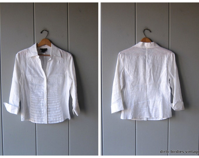 Button Up Linen Blouse Minimal Natural White Linen Top Pleated Cropped Blouse Quarter length Sleeves 90s Modern Blouse Women's Small