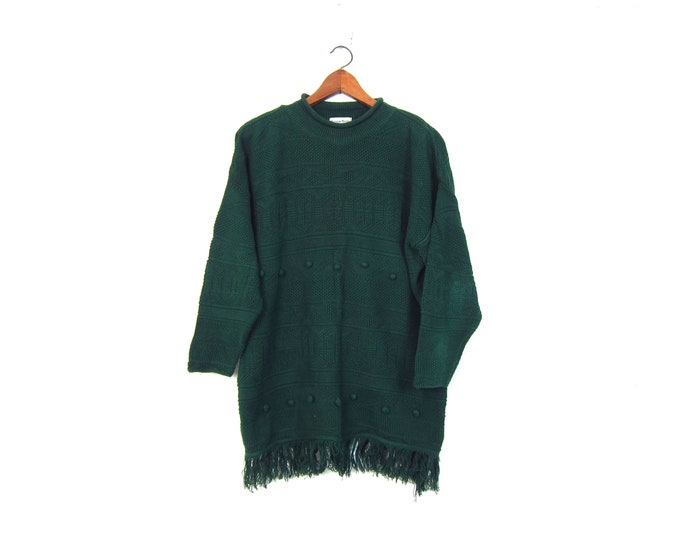 80s Oversized Sweater Dress Vintage Knit Tunic Top Textured Pom Pom Knit Vintage Long Fringed Sweater Womens Large XL