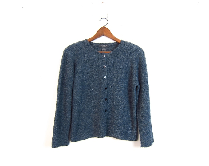 Nubby Knit Sweater Top Slouchy Blue Thin Knit Button Up Sweater Minimal Pullover Shirt Plain Long Sleeve Crop Top Vintage Womens