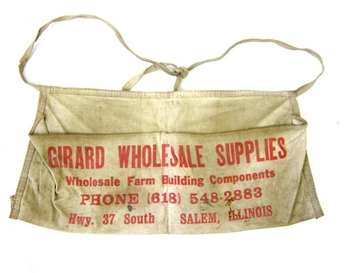 Girard Wholesale Supplies Farm Building Lumber Company Canvas Apron Print Salem Illinois Advertising Tool Belt Waist Apron hardware Pouch