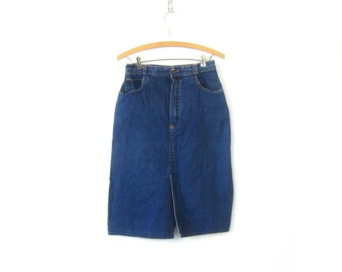 80s CLAUDE Jean Skirt Blue Denim Below the Knee Midi High Rise Front Slit skirt 80s Retro Vintage Women's Size 28 Inch Waist Size Medium