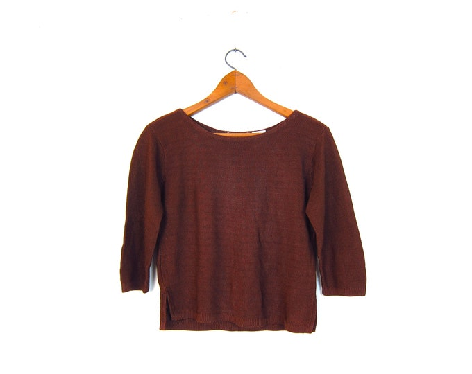 Copper Knit Shirt 90s Quarter Sleeve Crop Top Brown Textured Rayon Sweater Top Womens Small