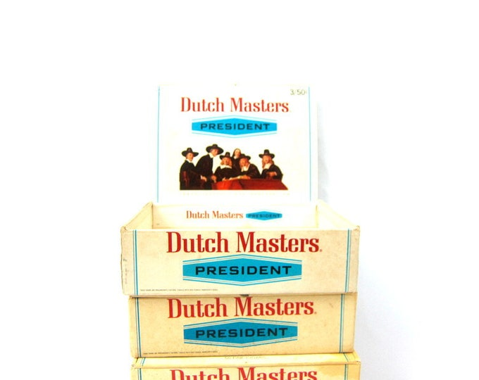 Cigar Box Collection 4 Vintage Cigar Boxes Storage Box Dutch Masters President & El Producto Bouquet Instant Collection
