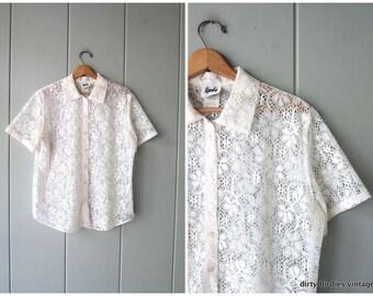 f37a605e6a13ca White Lace Blouse 70s Top White Button Up Shirt Preppy Short Sleeve Prairie  Tee Sheer Womens Medium