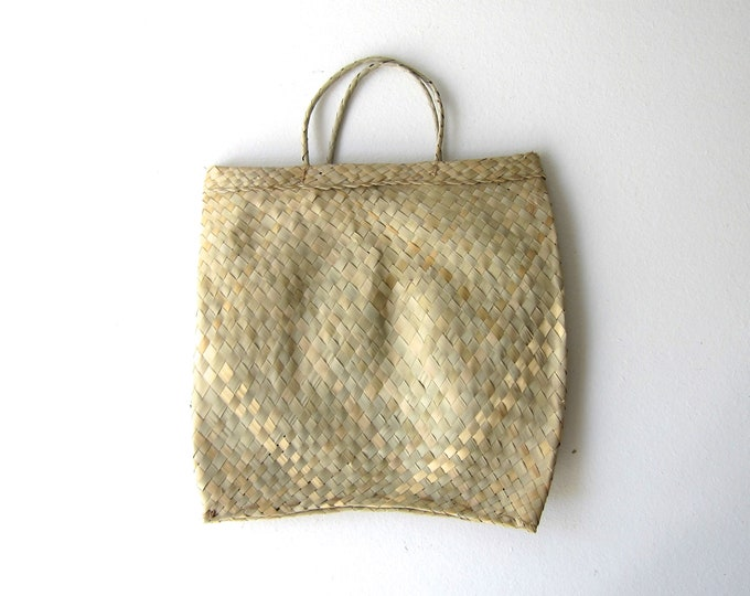 handwoven palm leaf tote