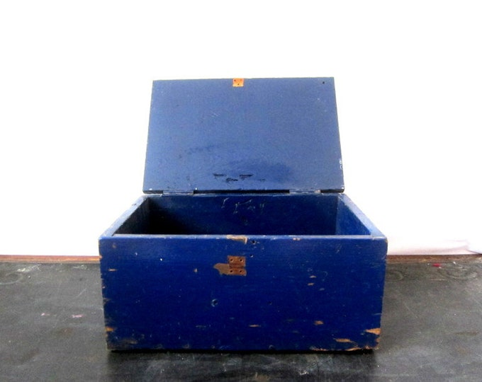 Large Blue Antique Primitive Box Small Trunk Handmade Wooden Chest Hinged & Distressed Painted Tool Chest Rustic Storage Industrial ToolBox