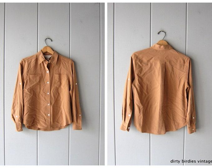 Light Brown Silk Blouse 90s Button Up Pocket Shirt Minimal Long Sleeve Minimalist Nude Shirt 1990s Modern Vintage Womens 6