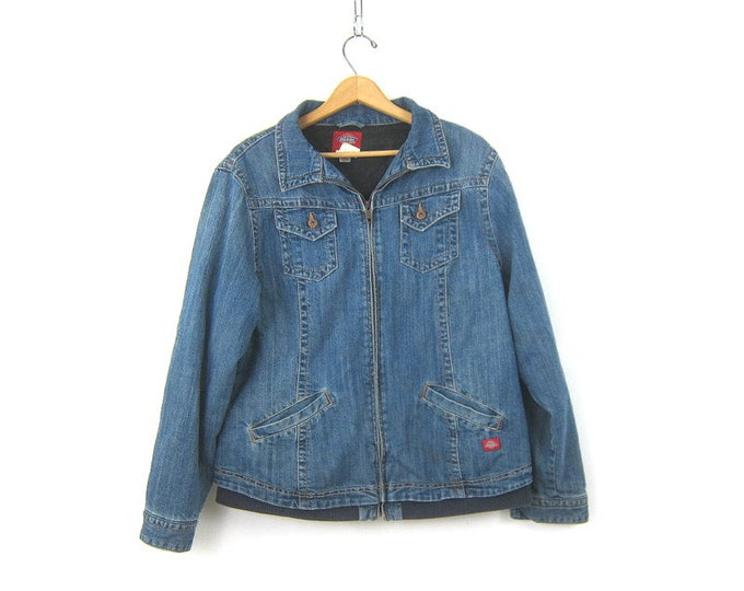 Dickies Jean Jacket Denim Trucker Jean Jacket Vintage Blue Coat Insulated Winter Jacket Coat Women's Size XL