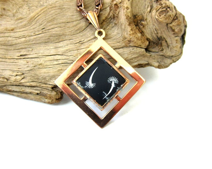 Copper Pendant Necklace Vintage 1960s Chain necklace Mid Century Retro Hipster Costume Jewelry