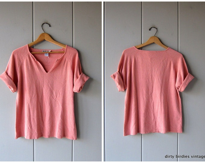 Pink Silk Knit Top Nubby Silk Shirt Thin Sweater Top Preppy Modern Minimal Oversized Slouchy Basic Tee Womens XL