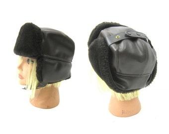 2b5cf2c86dda4e Vintage Dark Brown Bomber Hat Faux Fur Aviator Hat Trapper Hat Optional  Flaps + Chin Strap Snaps Medium
