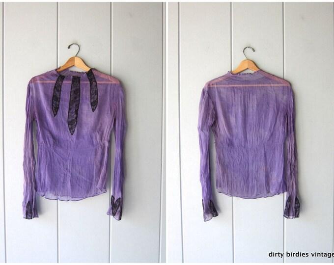 Purple SHEER Silk Top 40s Black Lace Blouse Sexy Lingerie BurlesqueSilk Chiffon Shirt Vintage 50s 60s Slip Over Nightie Womens Medium Large