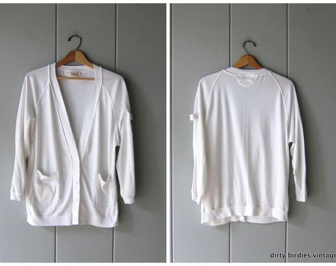 80s White Button Up Sweatshirt