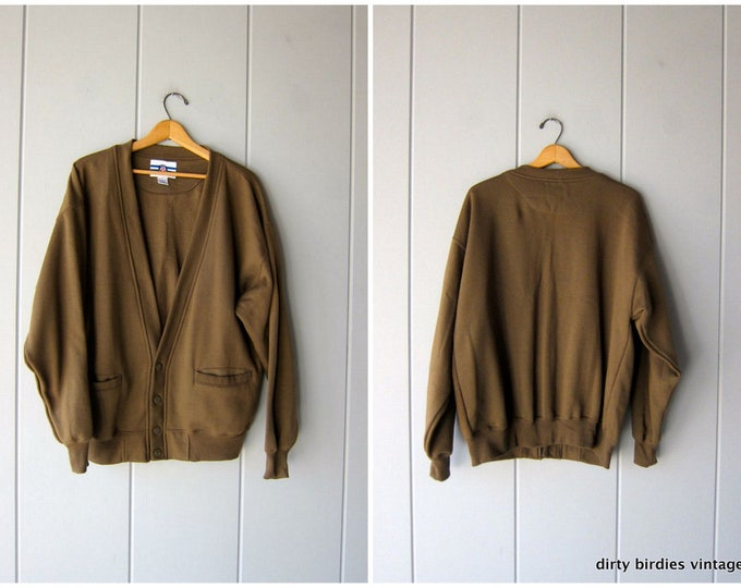 Army Green Sweatshirt Cardigan Vintage 80s Athletic Sporty Grunge Sweatshirt Slouchy Minimal Basic Pocket Sweater Boyfriend Fit Mens Large