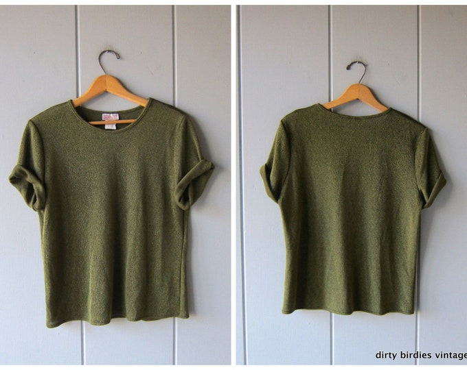 Dark Green Shimmer Tee Short Sleeve Oversized 80s Blouse Holiday Party Shirt Basic Sparkly Slouchy Knit Tee Womens Large