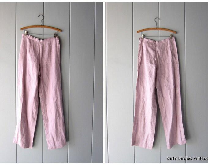 Minimal Linen Trousers 90s Loose Fit Wide Leg Lilac Purple Linen Pants Fitted Waist Casual Chic 90s Slacks Womens S/M