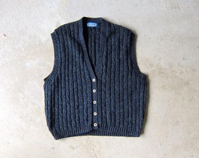 gray wool sweater vest