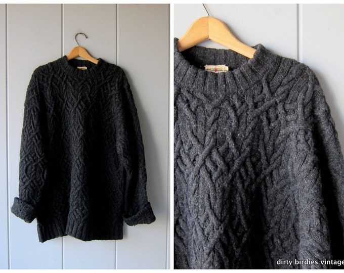 Gray Wool Sweater Thick Cable Knit Country Pullover Oversized HUGE Grey Wool Crewneck Fisherman Sweater Heavy Knit Sweater Mens XL Tall