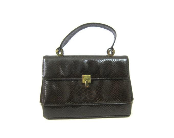 60s Dark Brown BLOCK Purse Tiny Tea Party Handbag Retro Mod Vinyl Hand Bag Small Purse Womens 1960s Modern Purse