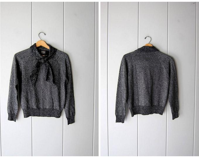 Metallic Fall Tie Up Ascot Sweater